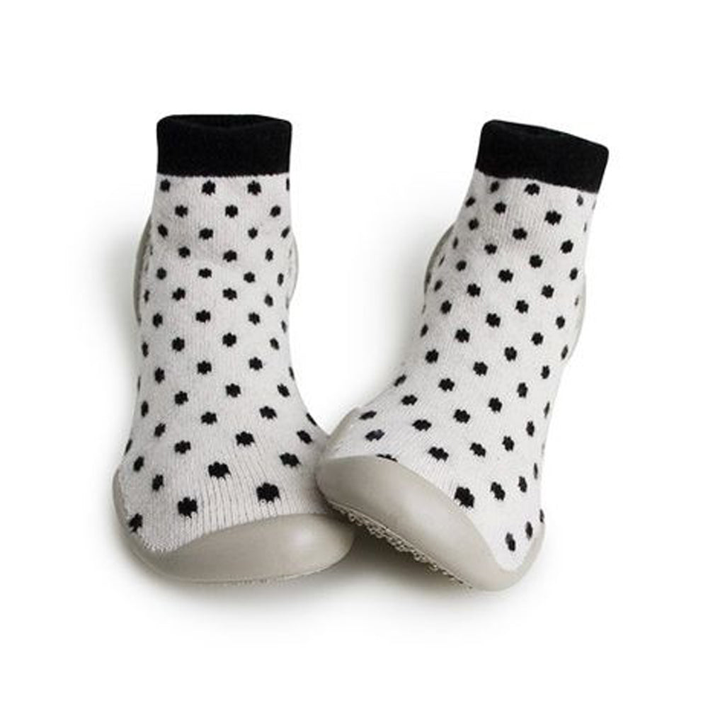 Collegien - Slipper Socks - White with Black Polka Dot - Made in France