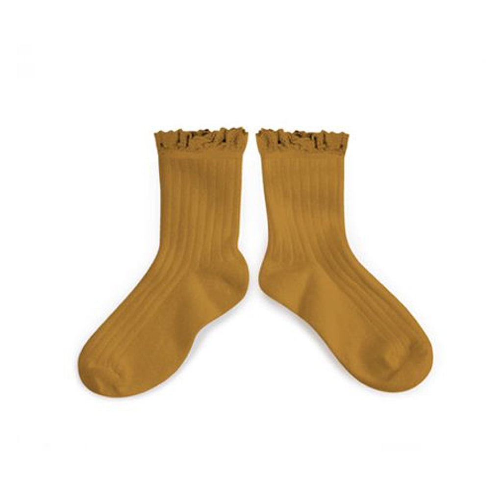 Collégien - Crew Socks with Lace Trim in Ochre - Made in France