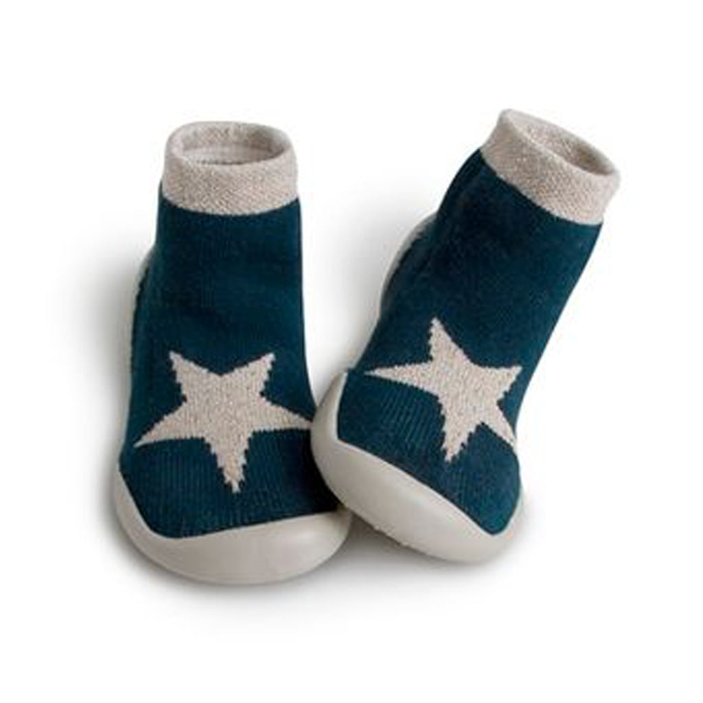 Collegien - Slipper Socks - Teal with Lurex Star - Made in France | Mapamundi Kids