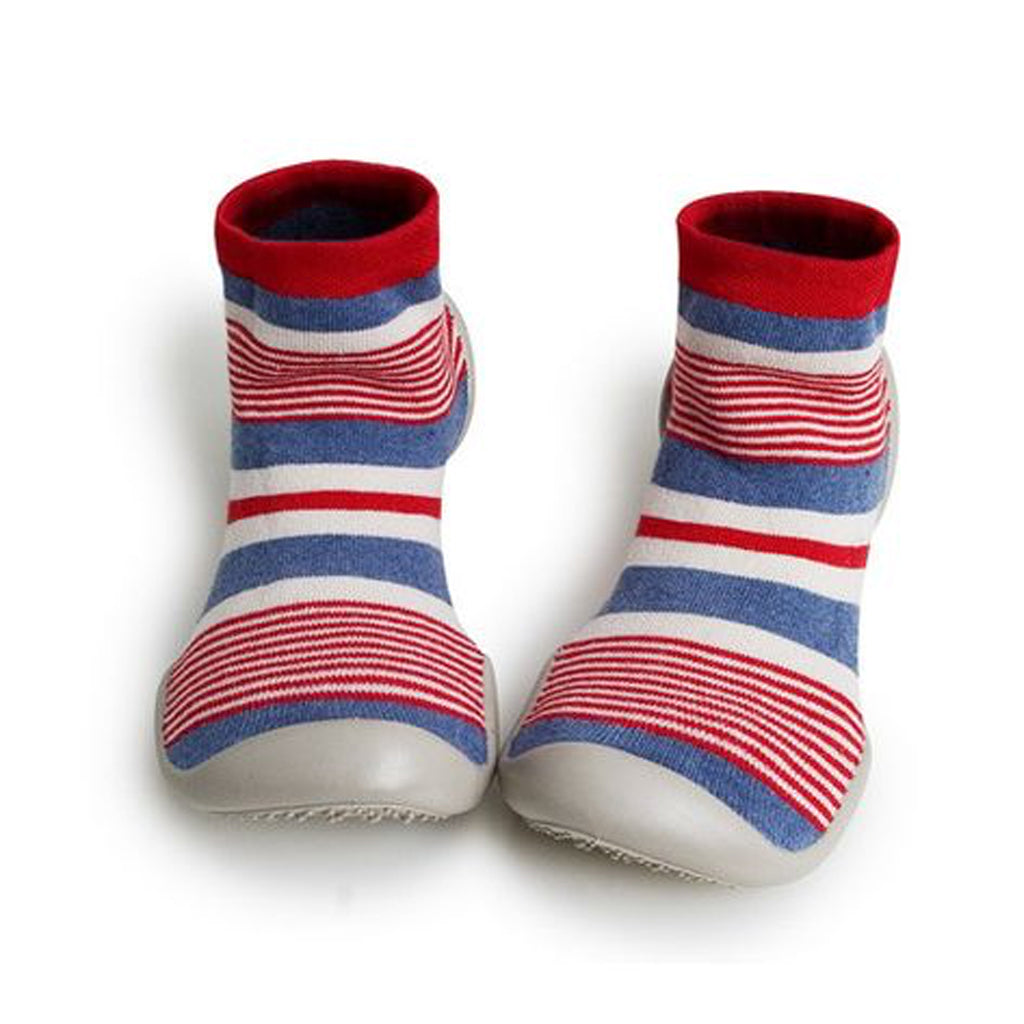 Collegien - Slipper Socks - Perfect Red/Blue Stripes - Made in France