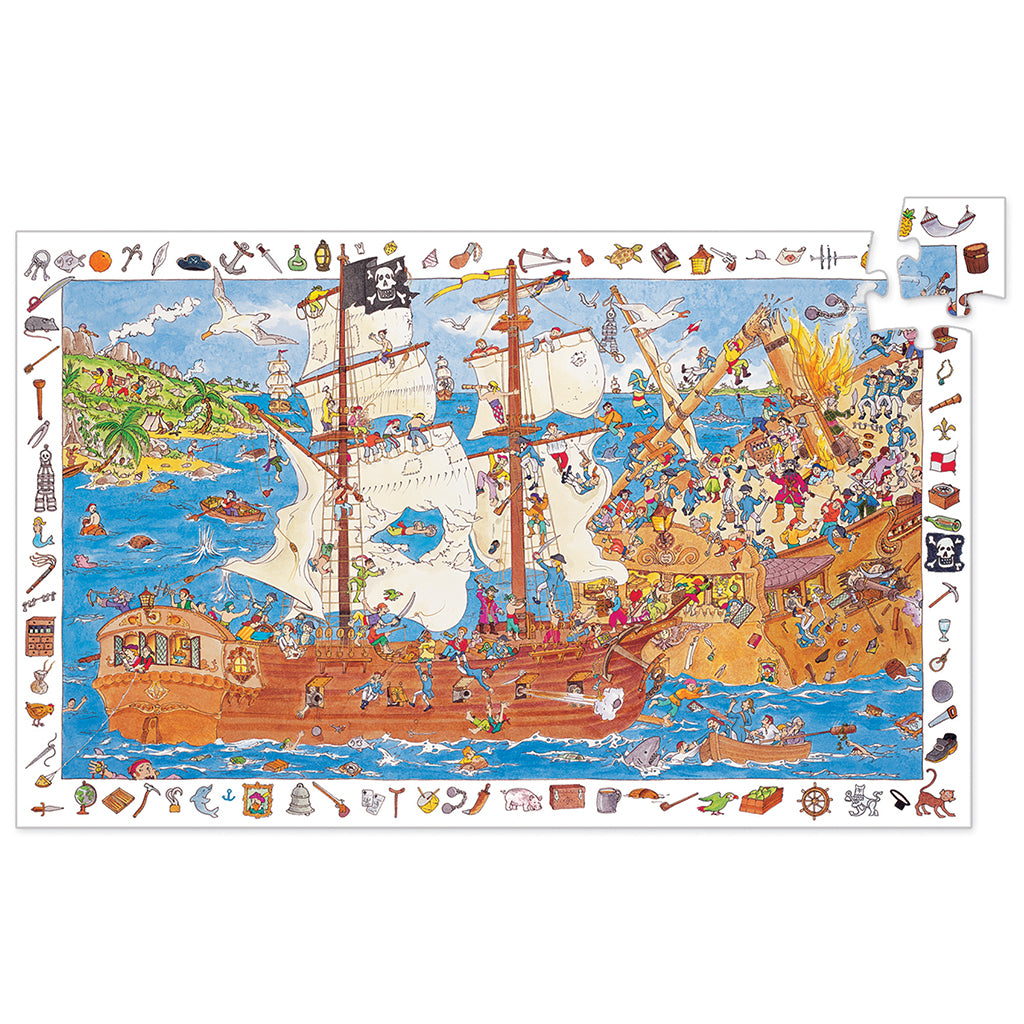 Djeco - 100 Pc Observation Puzzle - Pirates | Mapamundi Kids