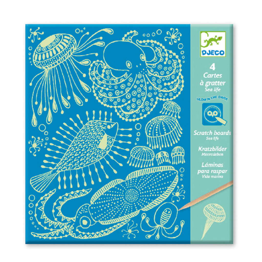 Djeco - Glow in the Dark Sea Life Scratch Art | Mapamundi Kids