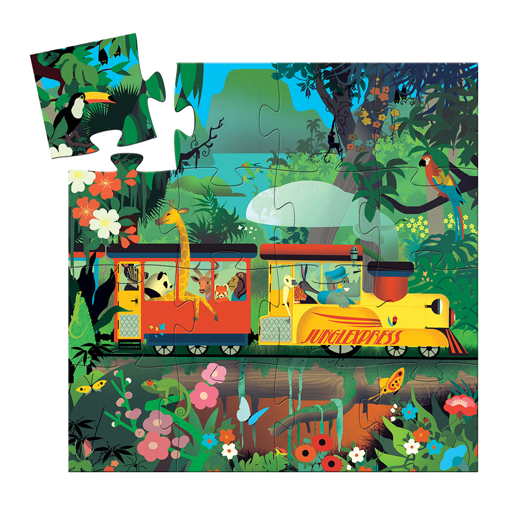 Djeco - Silhouette 16 Pc Puzzle - The Locomotive | Mapamundi Kids