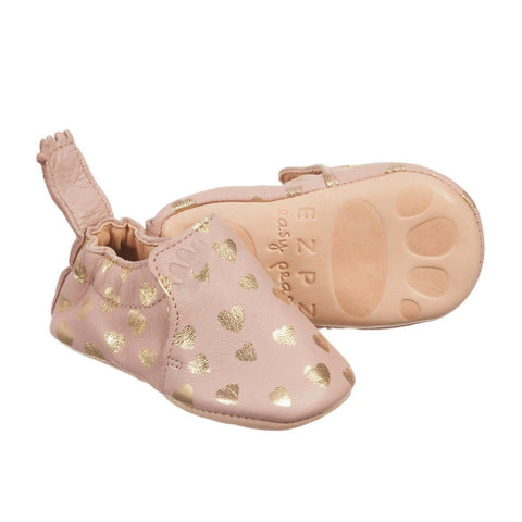 easy peasy baby shoes soft leather pink hearts main
