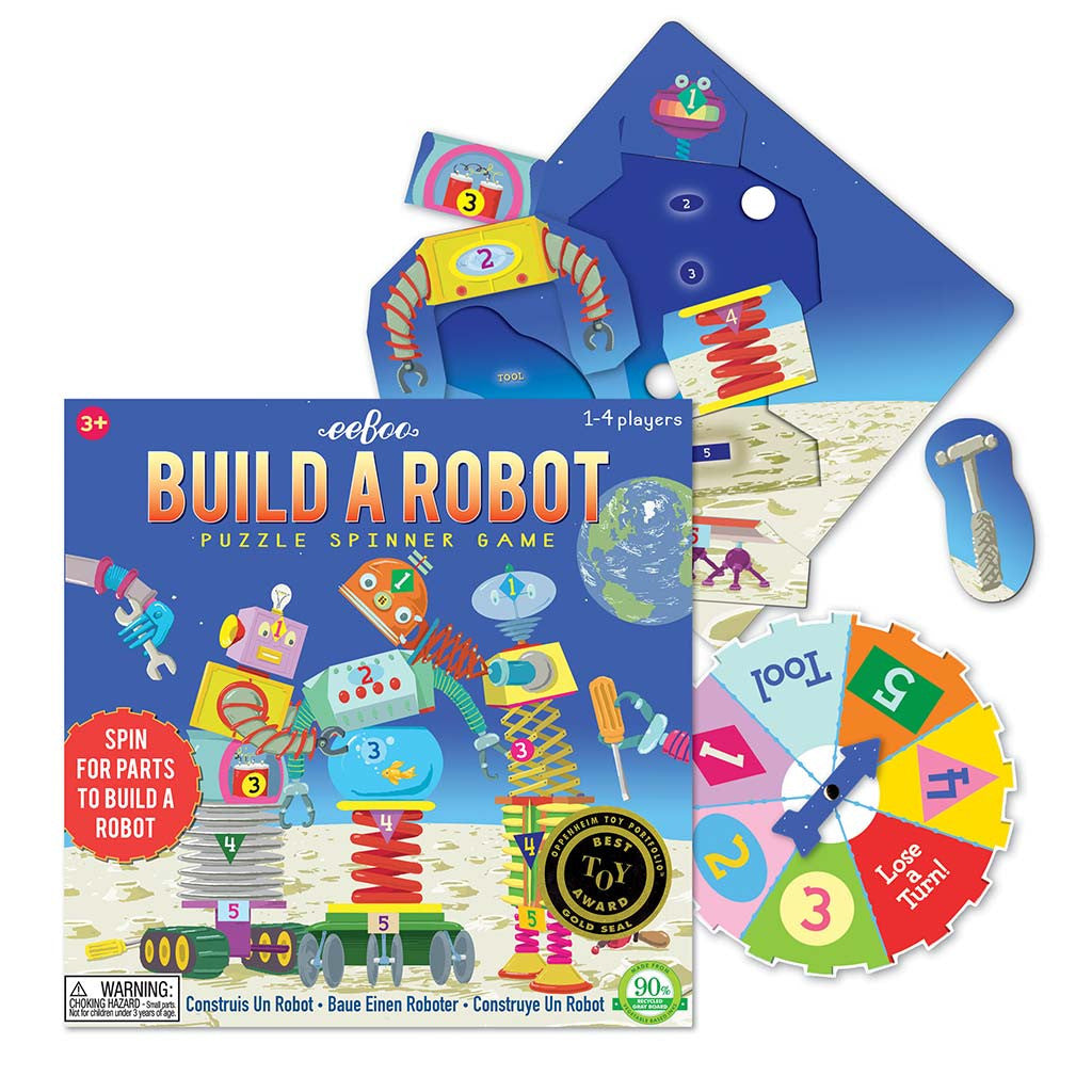 Eeboo - Build a Robot Puzzle Spinner Game - Contents