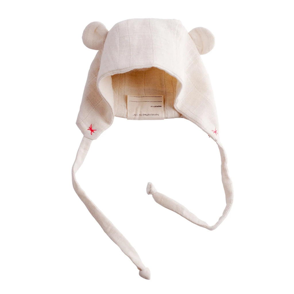 Elliefunday - Organic Bear Cap - Cherry Red Stitch | Mapamundi Kids