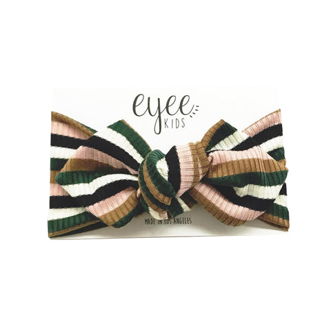Eyee - Knit Headwrap in Green / Neutral Stripes - Made in Los Angeles