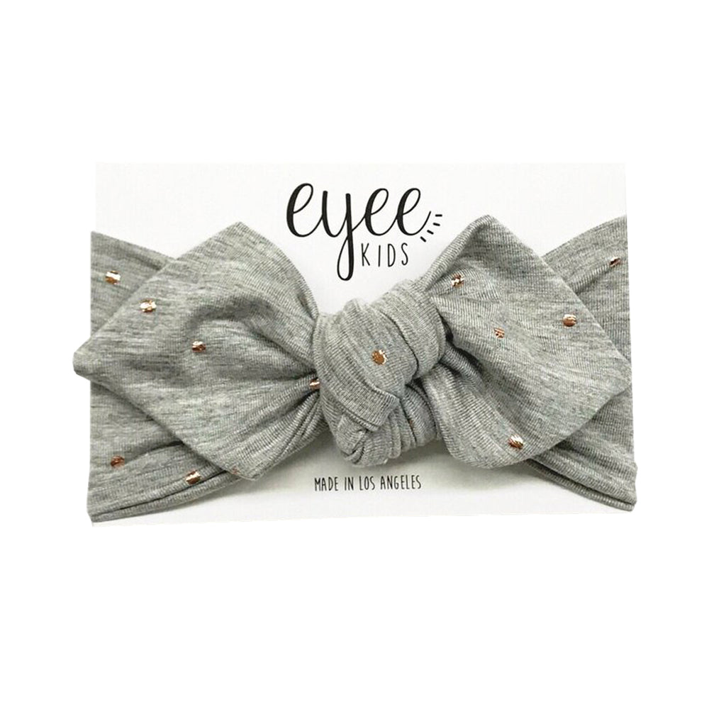 Eyee Kids - Top Knot Headband - Grey with Gold Foil Dots - Made in LA
