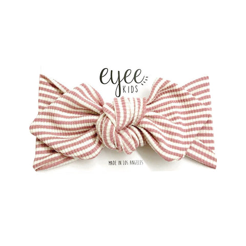 Eyee - Top Knot Headband in Mauve/White Stripes - Made in Los Angeles