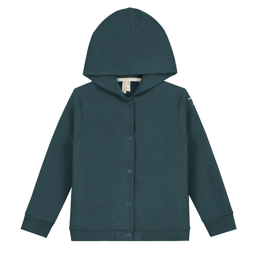 Gray Label AW20 - Hooded Cardigan - Blue Grey | Mapamundi Kids