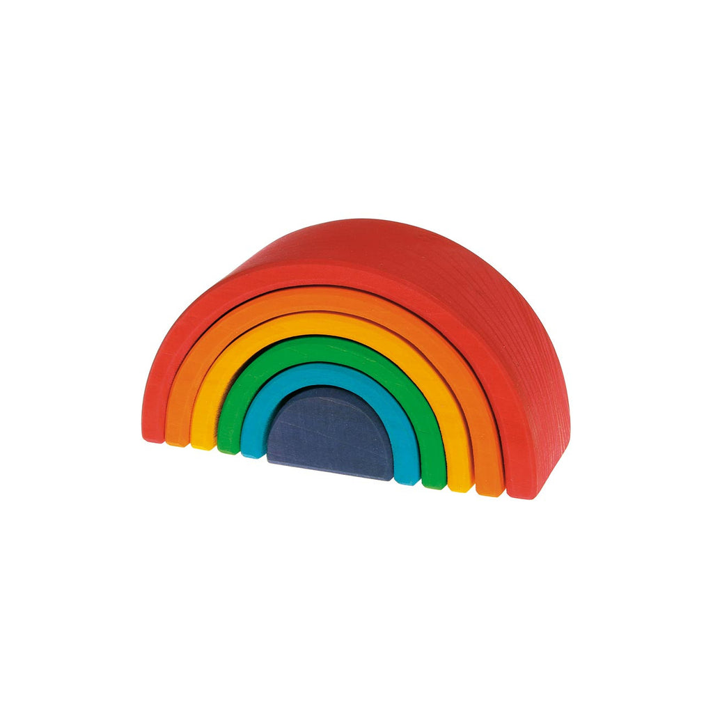 grimms small wooden rainbow 6pc puzzle set full