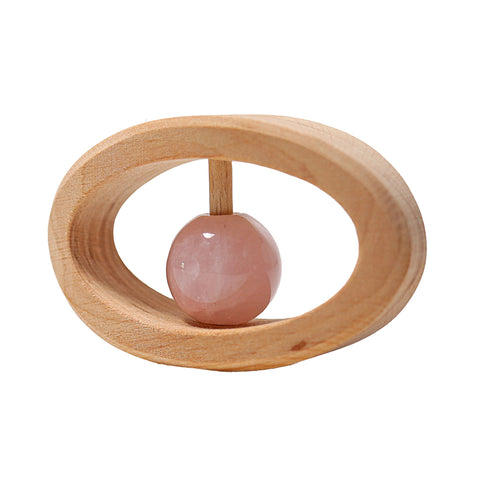 Grimm's Germany - Wooden Rattle with Rose Quartz Bead