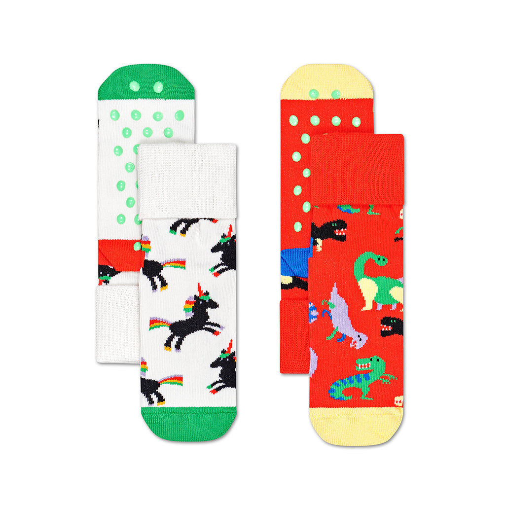 Happy Socks - 2-Pack Anti-Slip Socks - Dinosaur/Unicorn | Mapamundi Kids