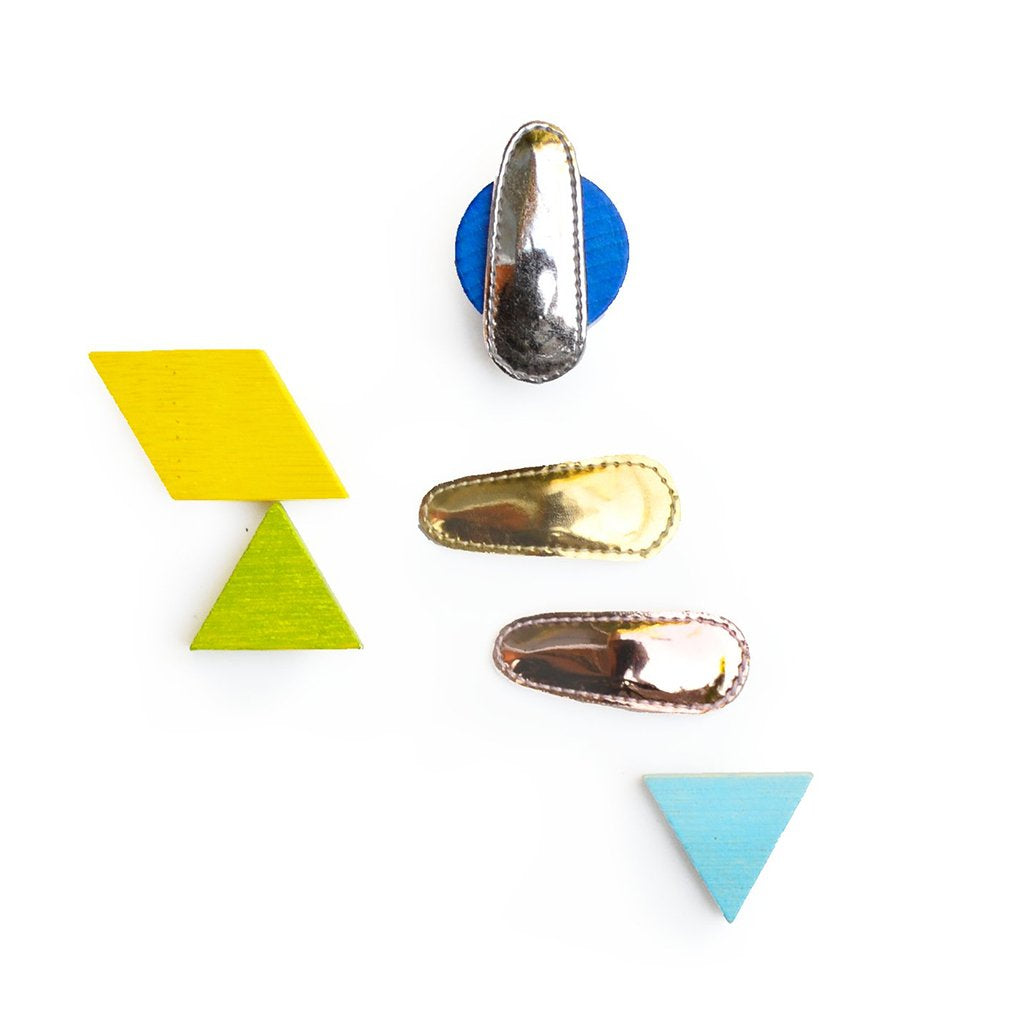 Hello Shiso - Metallic Natural Mini Clips - Set of 3 - Made in Berkeley