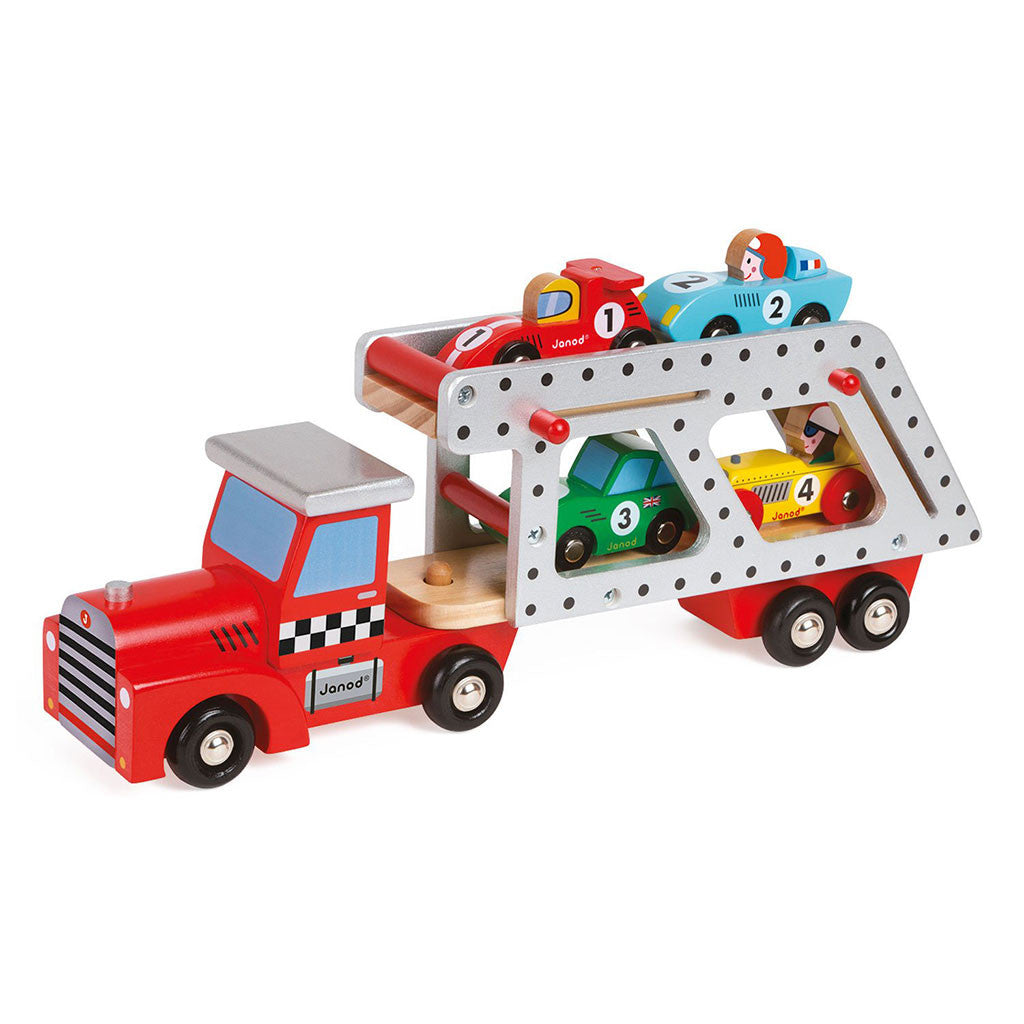 janod wooden car transporter with four mini cars included