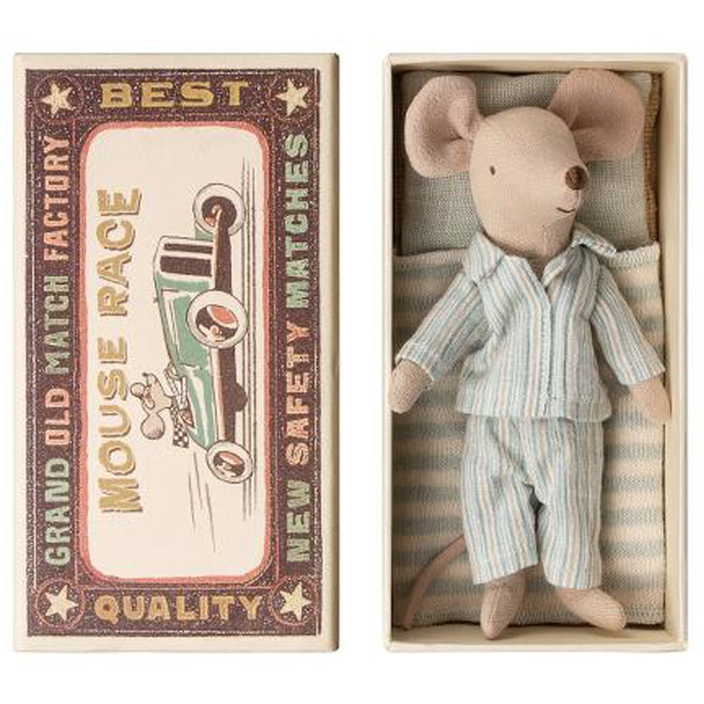 Maileg - Big Brother Mouse in a Box - Striped Pajamas - Designed in Denmark