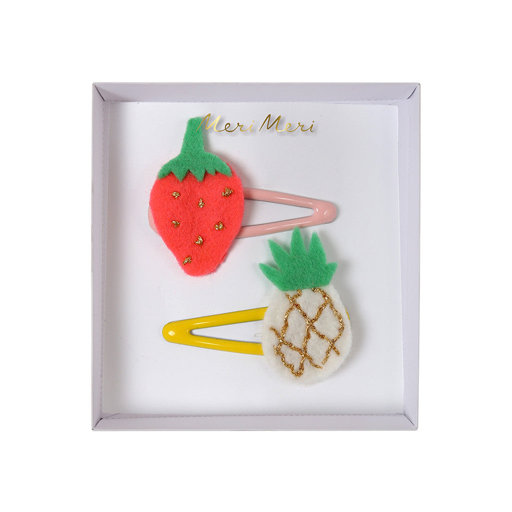 Pineapple and Strawberry Embroidered Hair Clips
