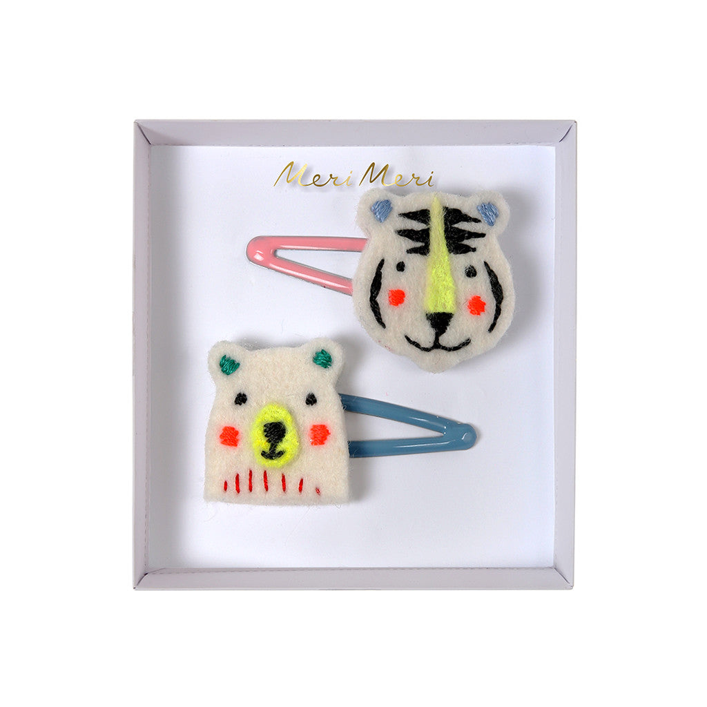 Meri Meri - Bear and Tiger Embroidered Hair Clips
