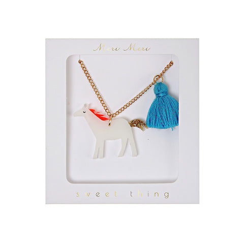 Meri Meri - White Horse with Tassel Necklace - Designed in the UK