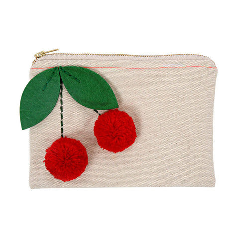 Meri Meri - Canvas Cherries Pouch - Designed in England