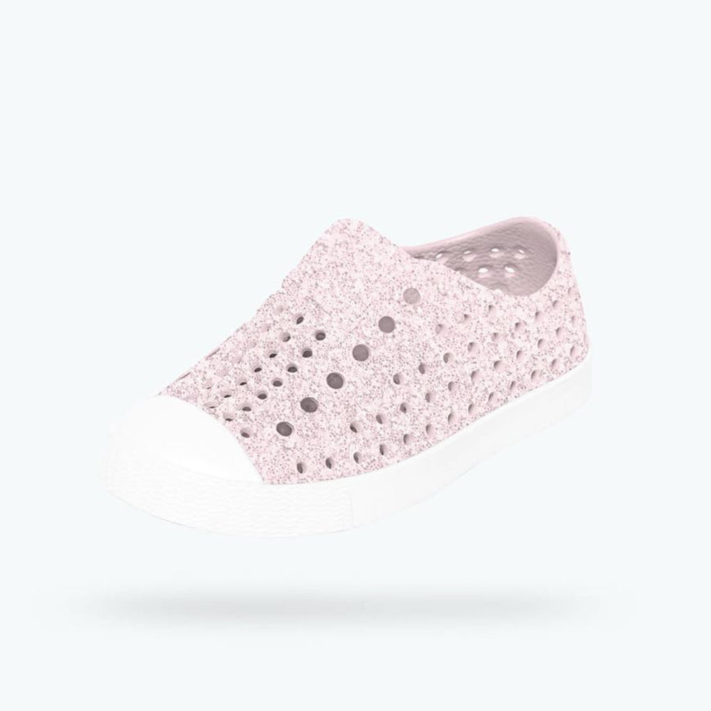 native shoes jefferson bling child pink white glitter side
