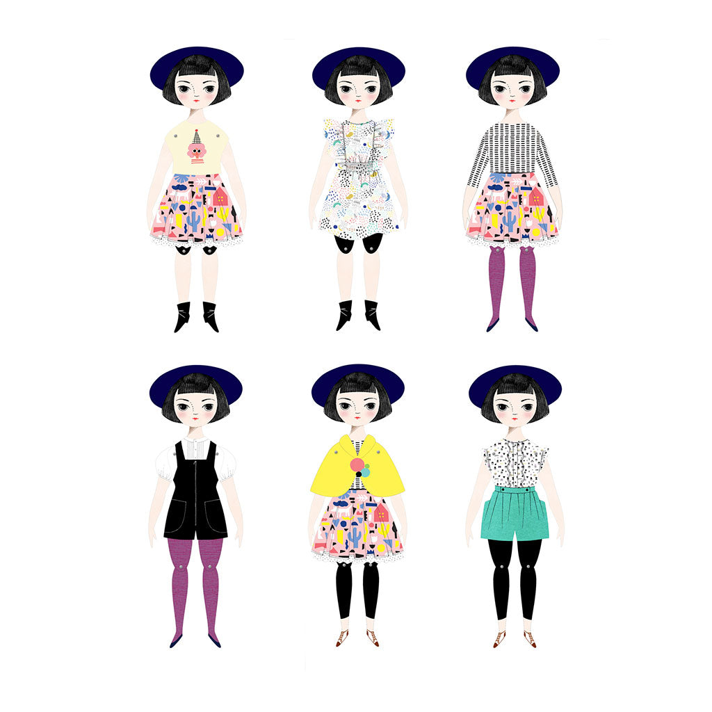 of unusual kind olive paper doll handmade in new york city made in usa outfits