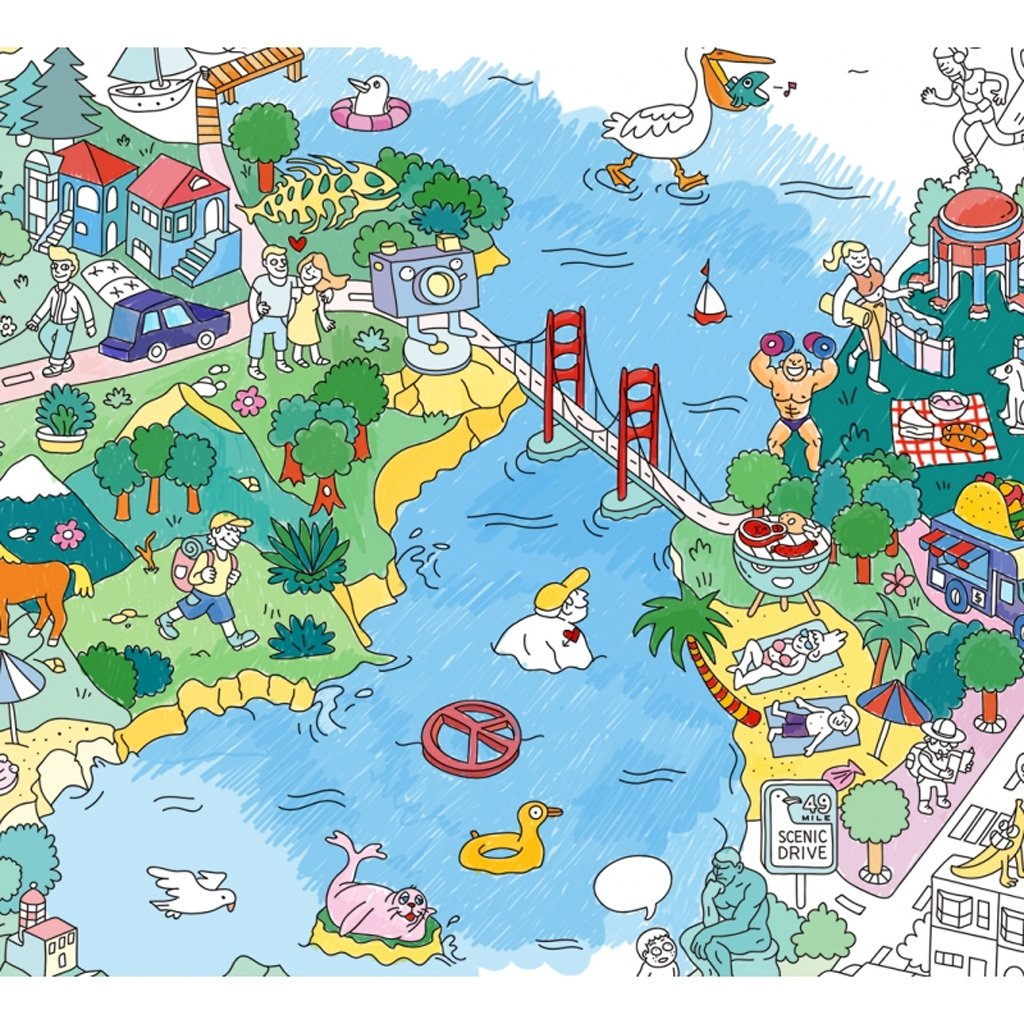 OMY - San Francisco Giant Coloring Poster - Designed and made in France