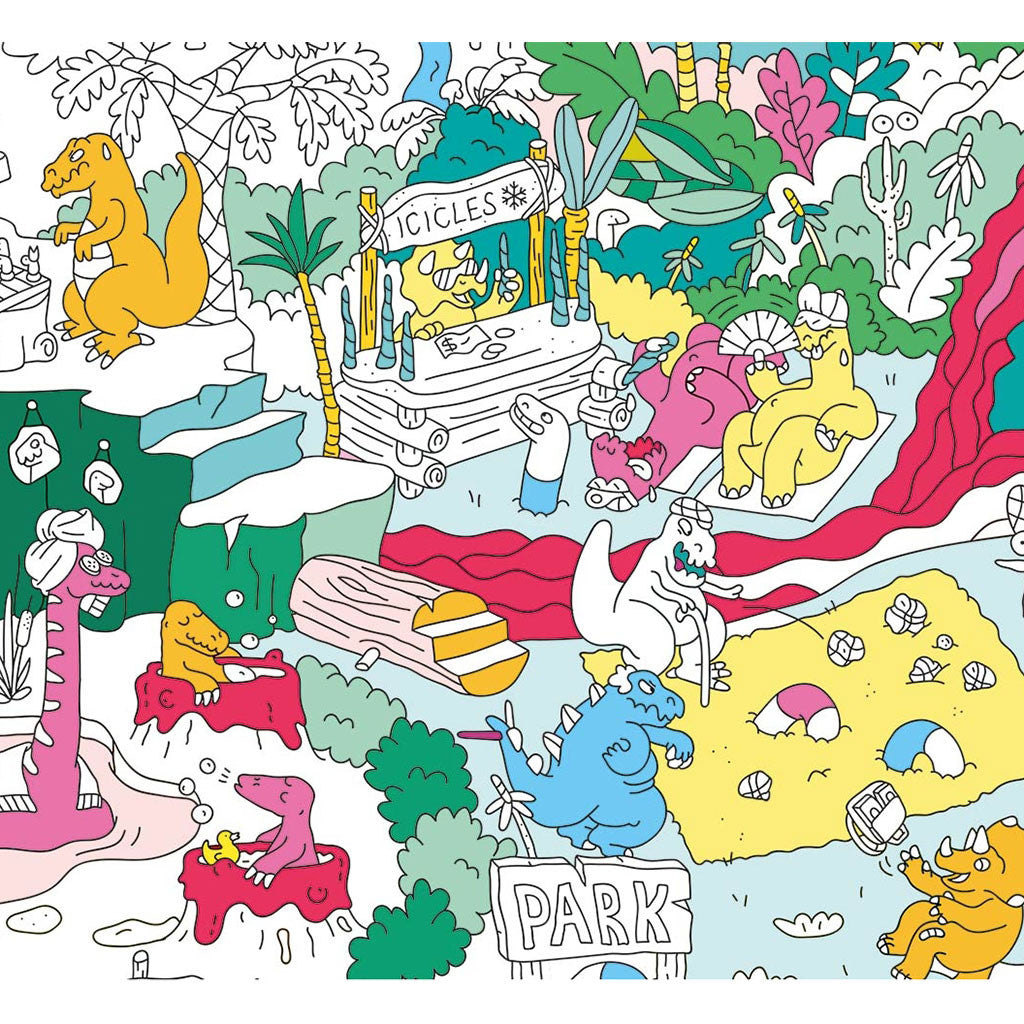OMY - Dinos Giant Coloring Poster - Designed and Made in France - Details