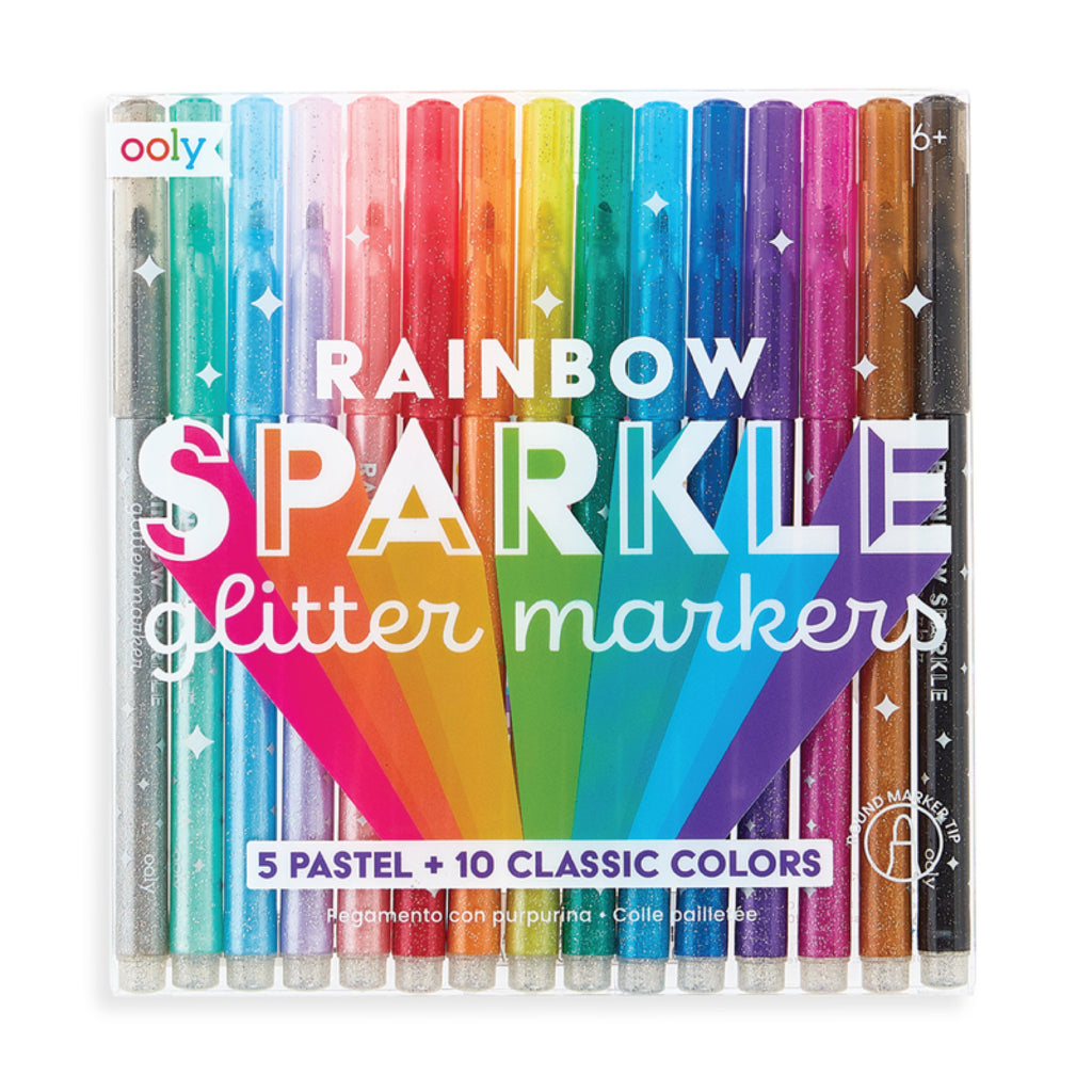 ooly rainbow sparkle glitter markers packaging