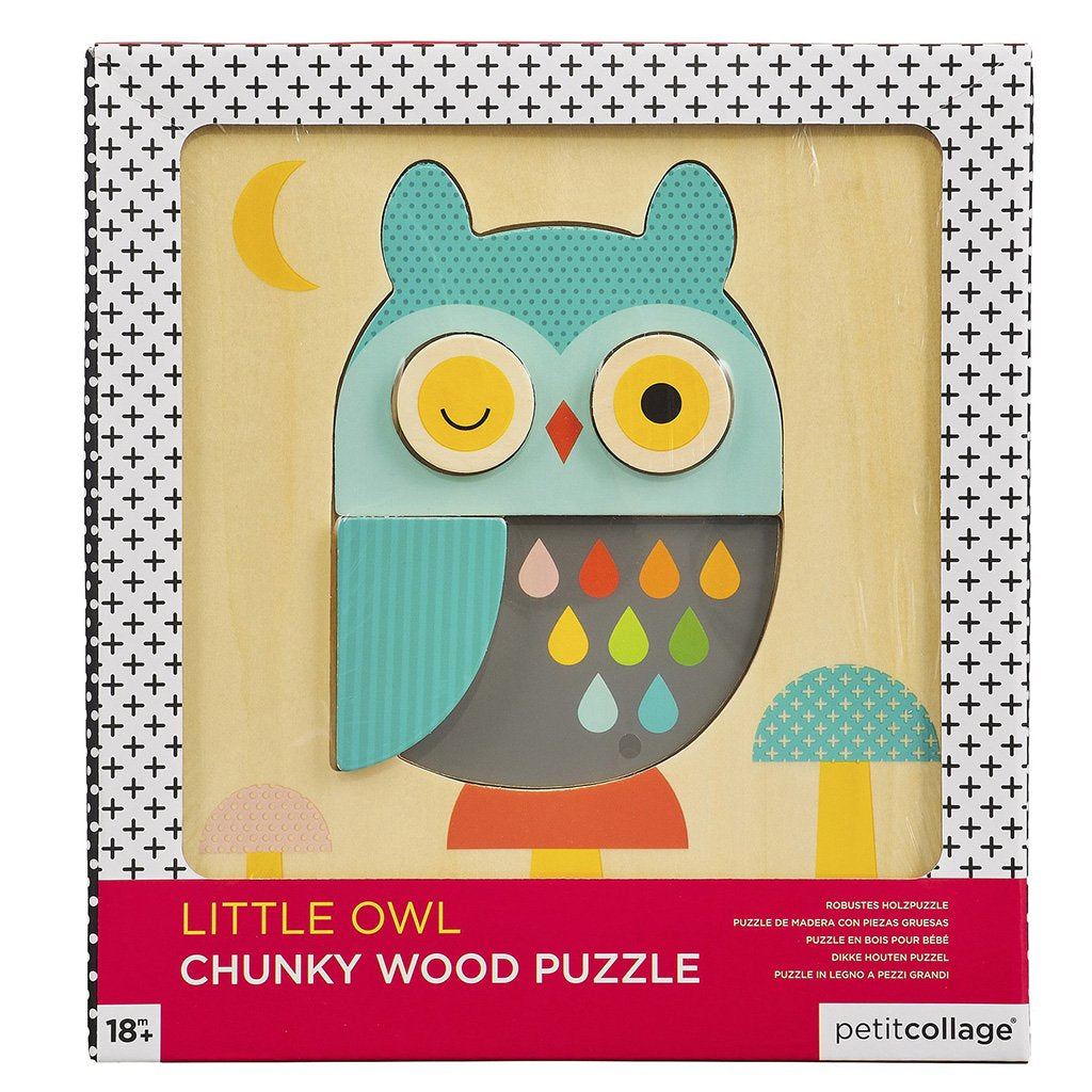 Petit Collage - Little Owl Chunky Wooden Puzzle