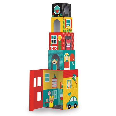 Petit Collage - Peek-A-Boo House Stacking Blocks Play Set