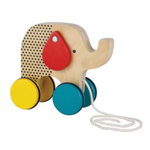 petit collage modern elephant wooden pull toy