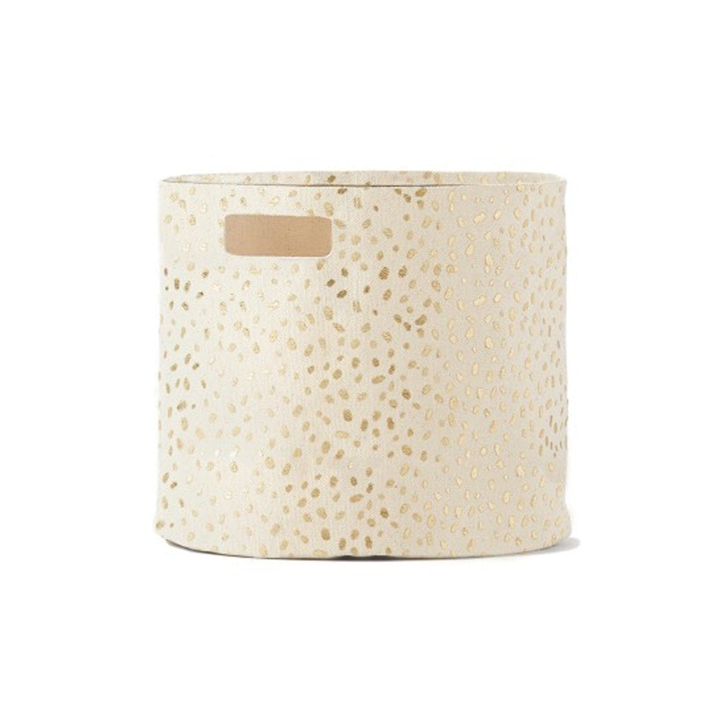 petit pehr gold speck canvas storage bin