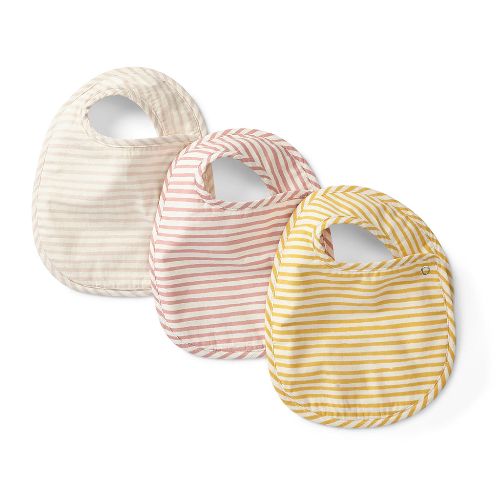 Petit Pehr - Bibs Set of 3 - Stripes Away Petal | Mapamundi Kids