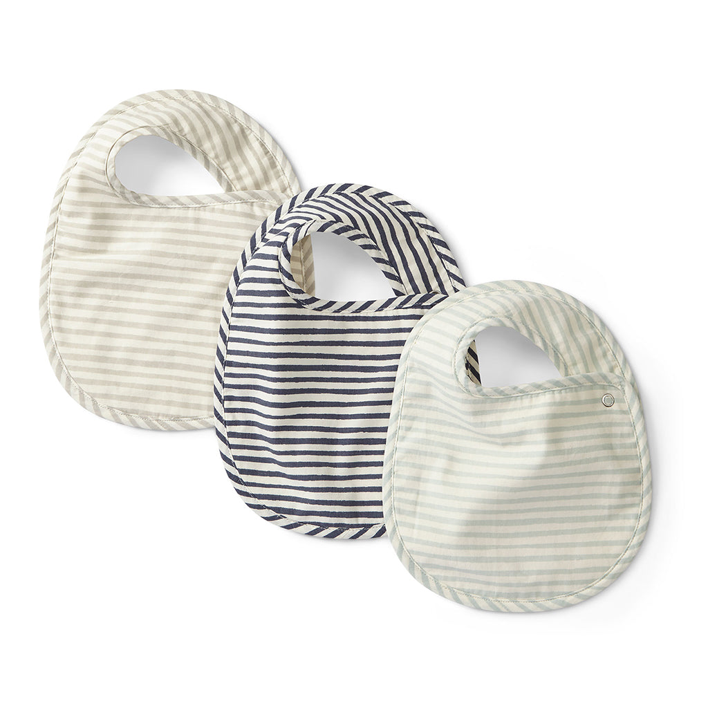 Petit Pehr - Bibs Set of 3 - Stripes Away Sea - Designed in Canada