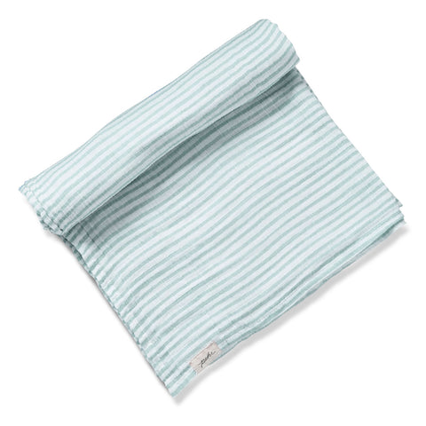 Petit Pehr - Stripes Away Swaddle Blanket in Sea - Designed in Canada