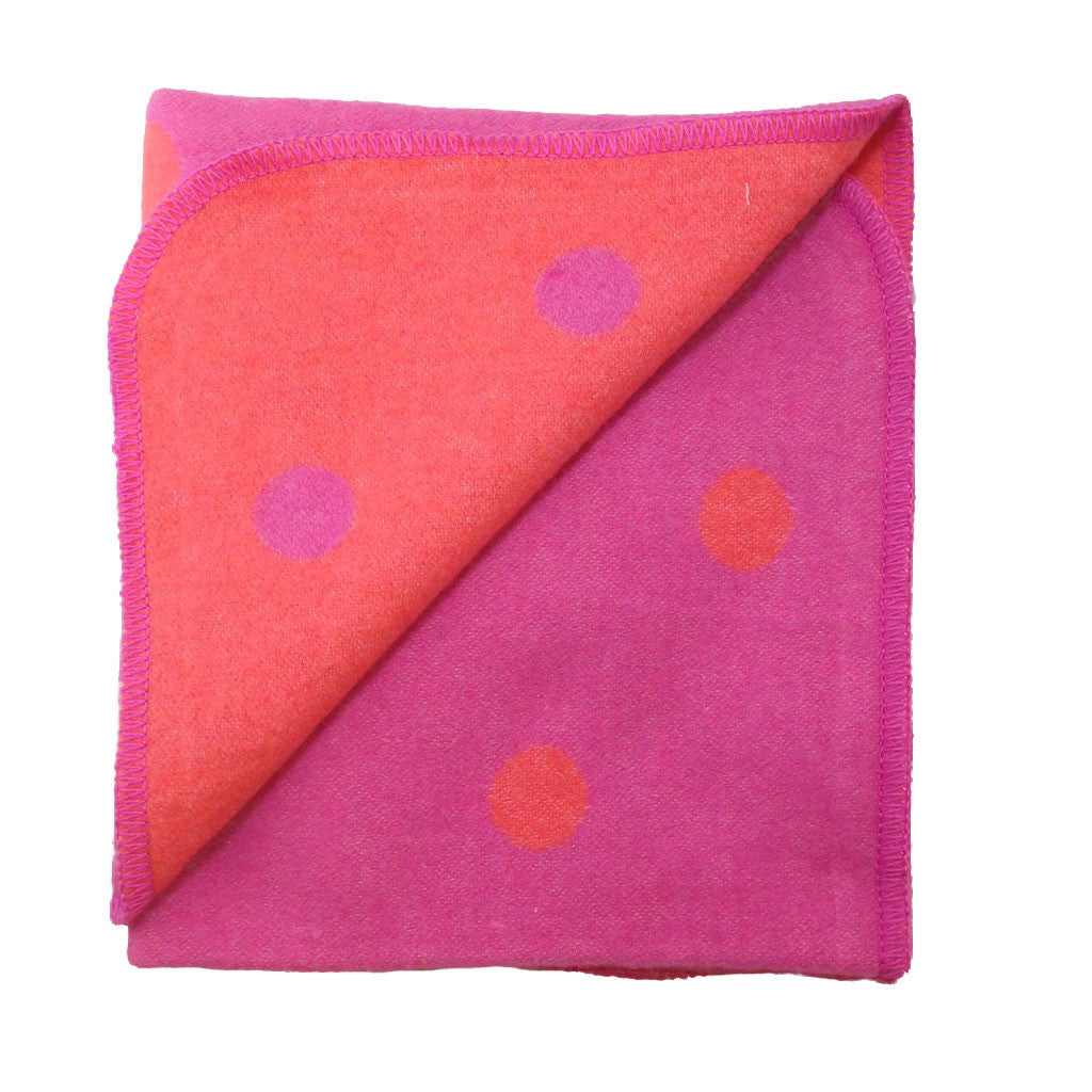 David Fussenegger - Juwel Polka Dots Blanket in Hot Pink/Tomato - Reversible