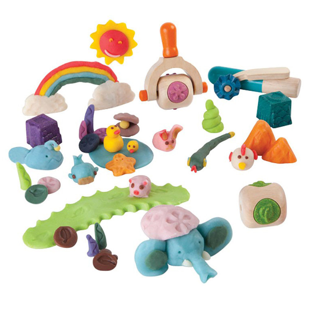 plan toys creative dough set tools and examples