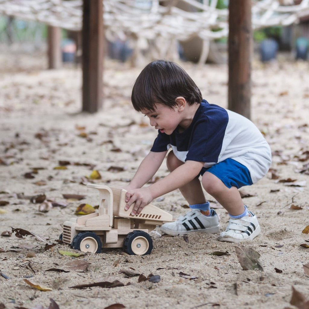 Plan Toys - Wooden Dump Truck Made of Recycled Rubber Tree