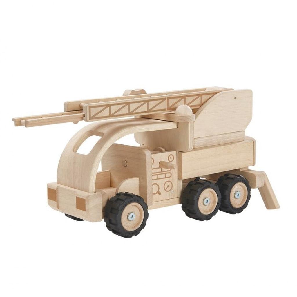 Plan Toys - Wooden Fire Truck Made of Recycled Rubber Tree