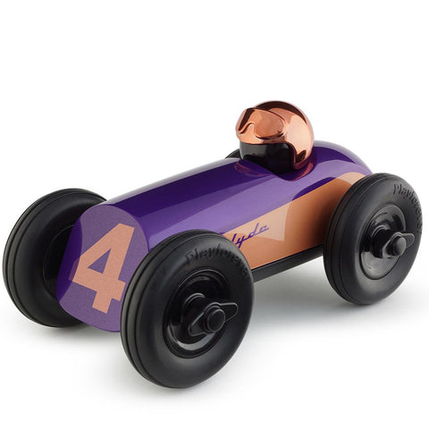 playforever cars designed in the uk midi race car clyde in purple with copper helmet