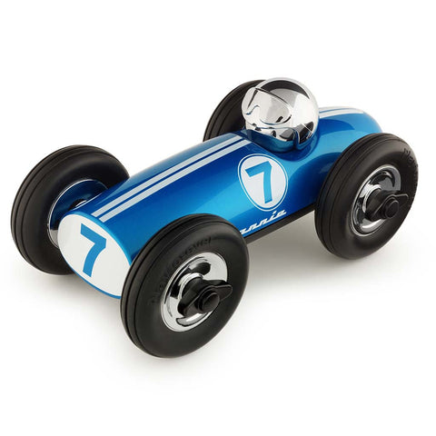 playforever midi race car bonnie in blue with chrome helmet designed in the uk