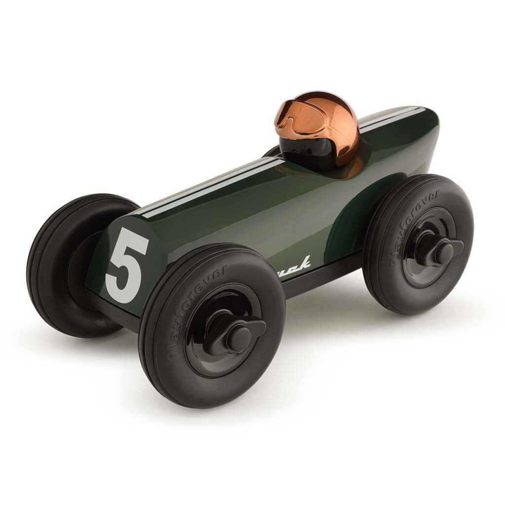 playforever designed in the uk midi race car buck green with copper helmet