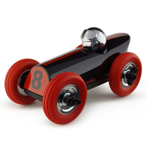 playforever cars designed in the uk midi race car buck in black and red chrome helmet