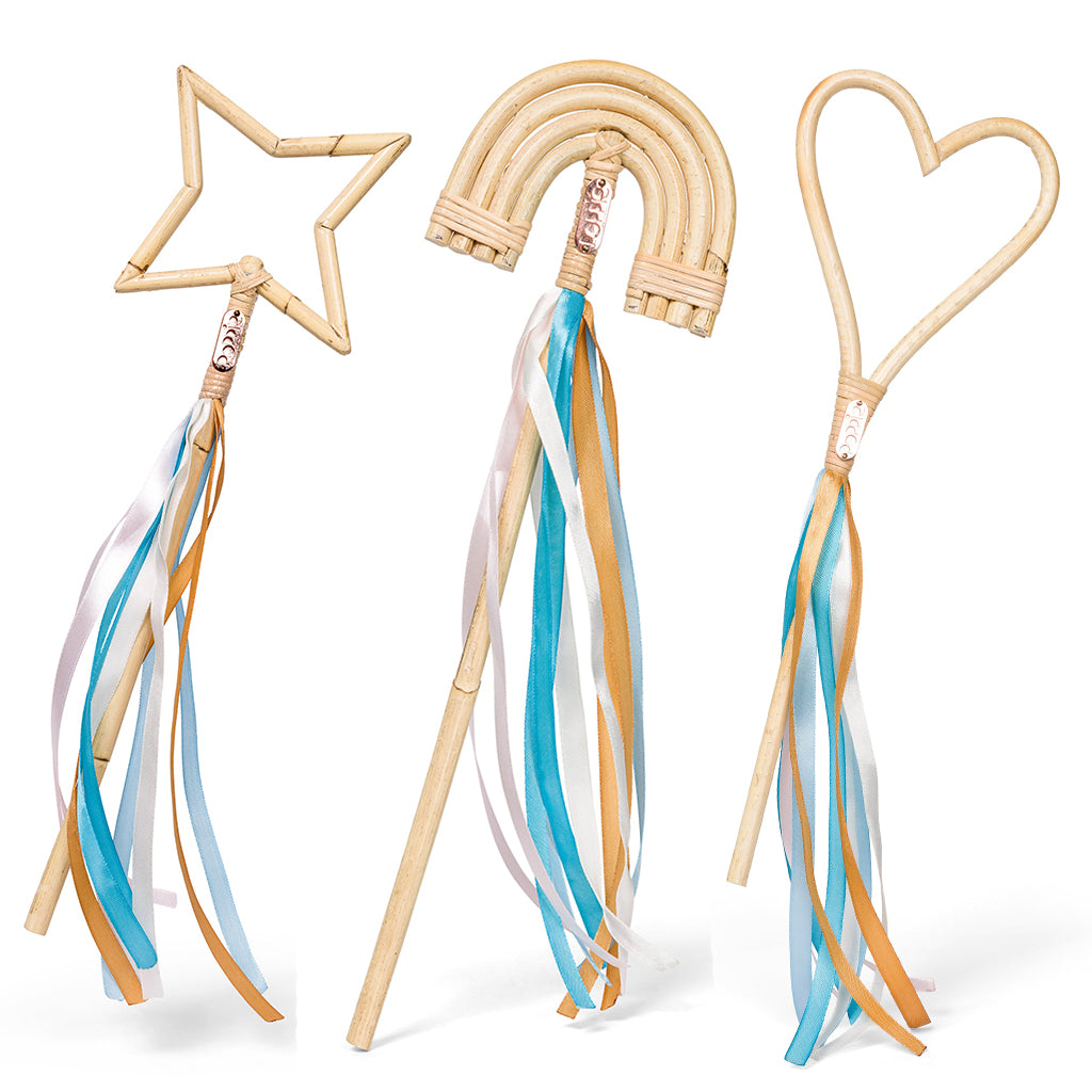 Poppie Toys - Rattan Wands in Rainbow, Star & Heart | Mapamundi Kids