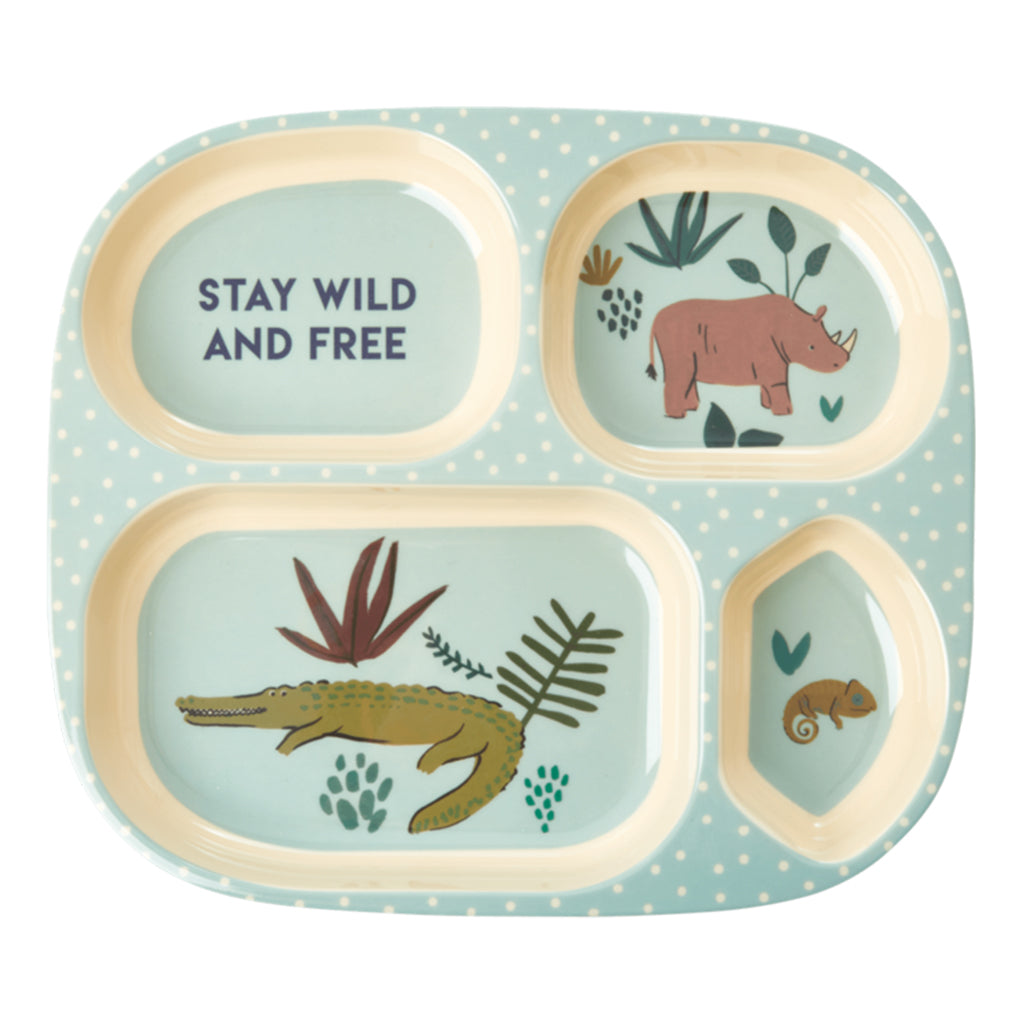 RICE DK - 4 Room Melamine Plate - Blue Jungle | Mapamundi Kids