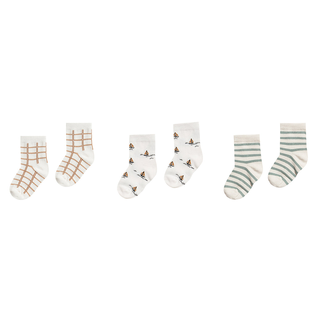 Rylee + Cru Printed Ankle Sock Set - Bronze Grid/Sailboat/Sea - SS20