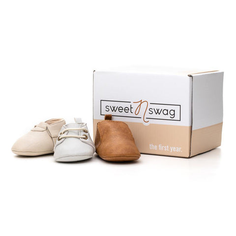 Sweet n Swag - The First Year - Neutral Mox Box - Handmade Vegan Leather Bootie Box Set