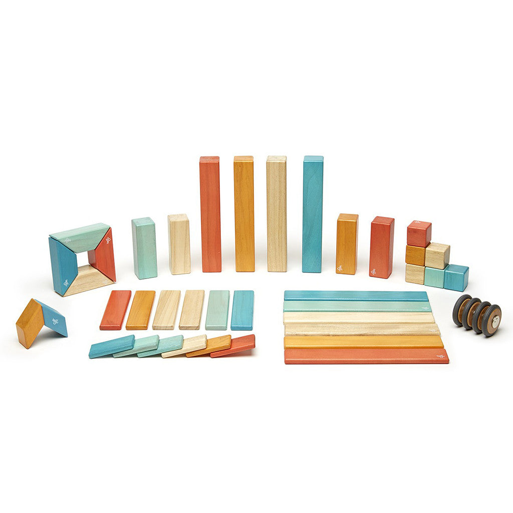 Tegu - Magnetic Wooden Blocks 42 Pc Set in Sunset - Made in Honduras