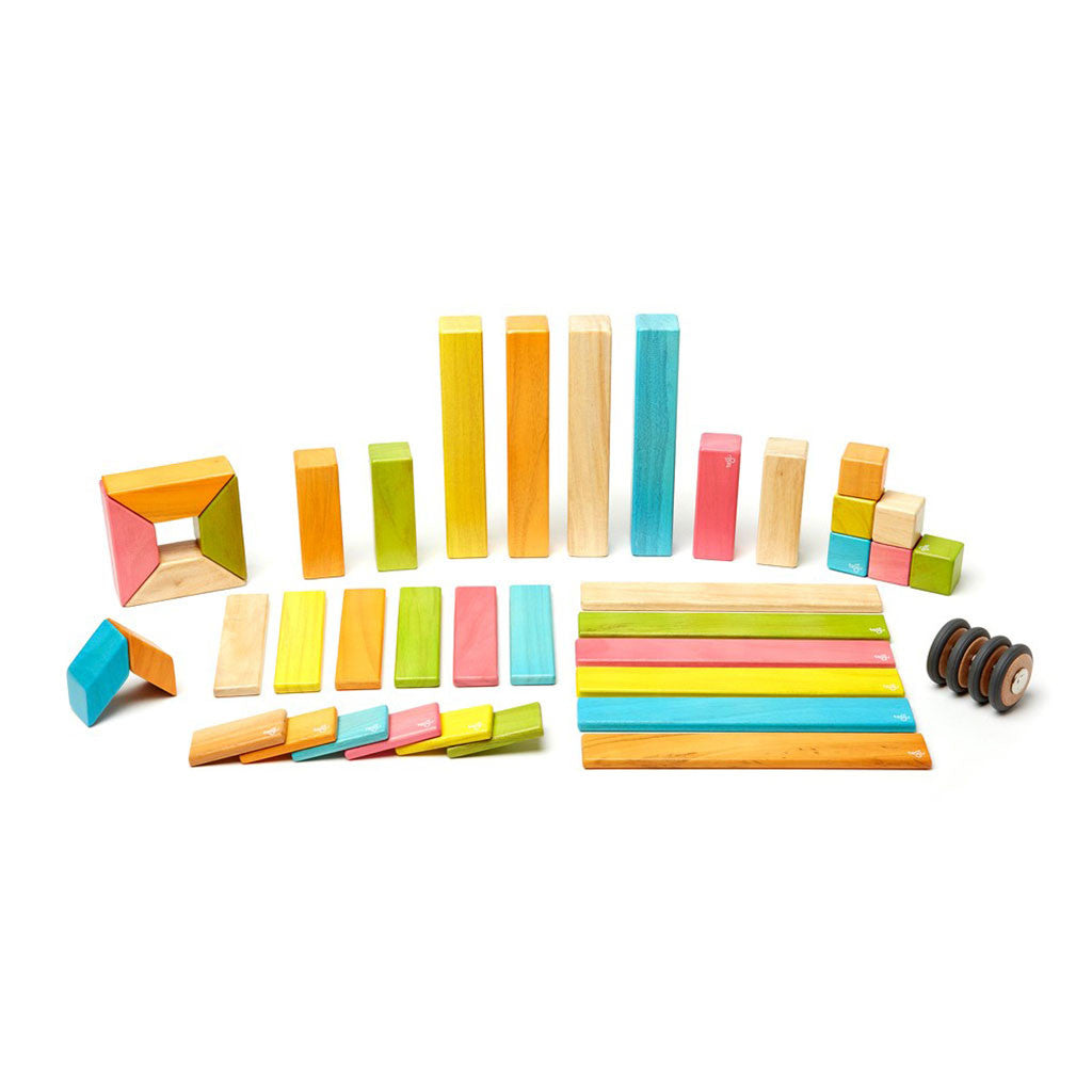 Tegu - Magnetic Wooden Blocks 42 Pc Set in Tints - Made in Honduras